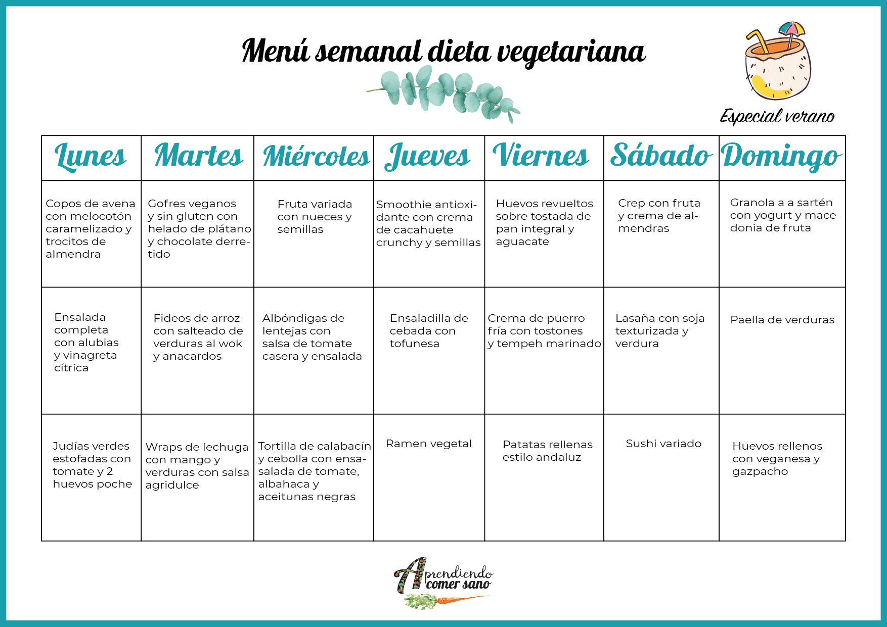 menu semanal dieta vegetariana verano