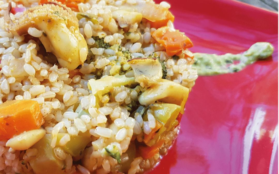 Arroz integral con verduras y sepia