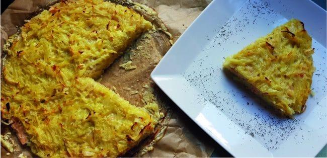 alt=Pastel de patata y salmón ahumado