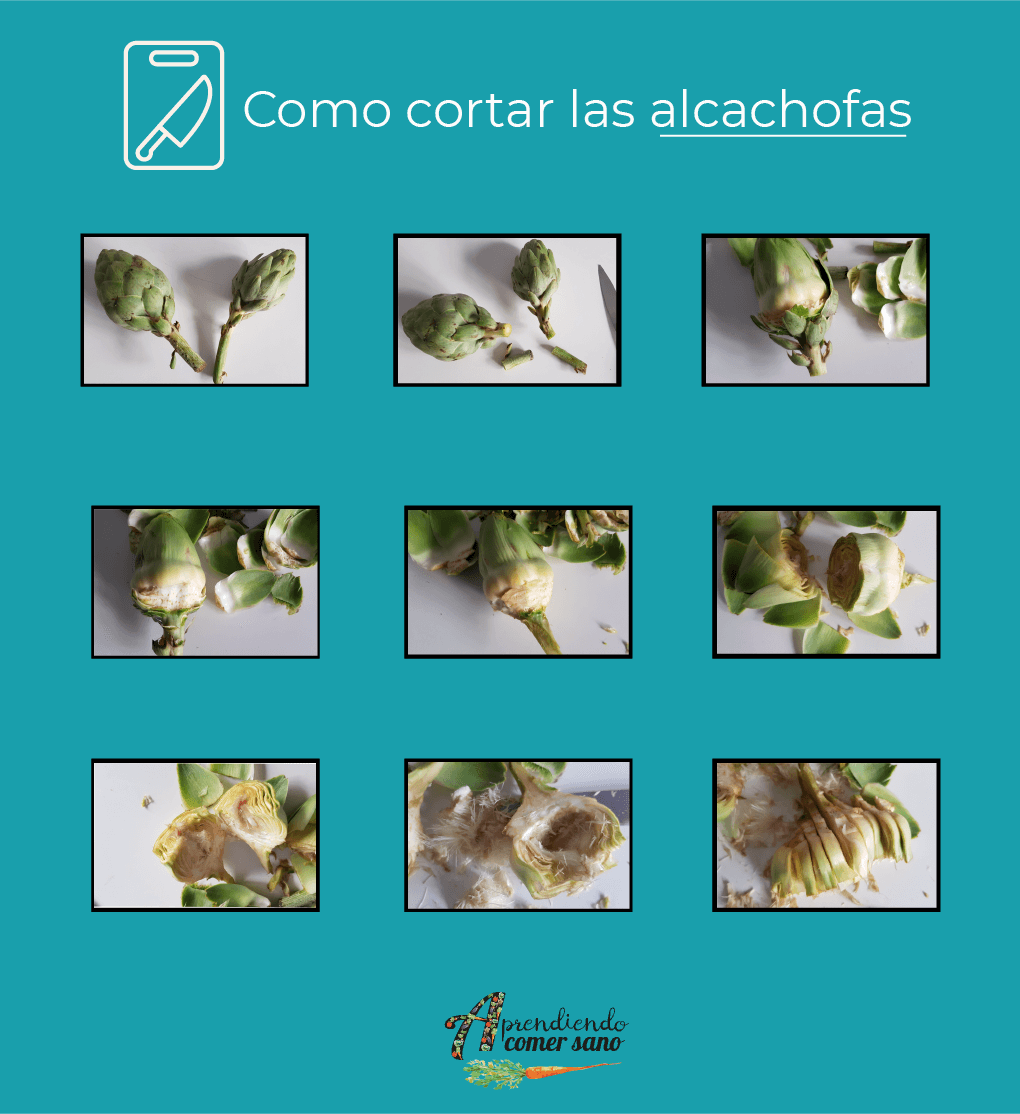 como cortar alcachofas paella
